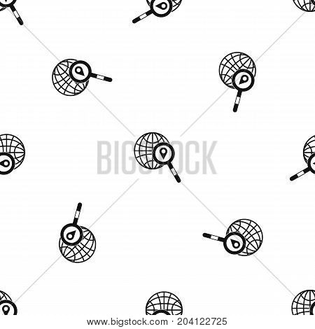 Globe, map pointer and magnifying glass pattern repeat seamless in black color for any design. Vector geometric illustration
