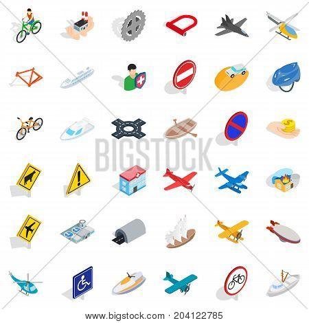 Flying transport icons set. Isometric style of 36 flying transport vector icons for web isolated on white background