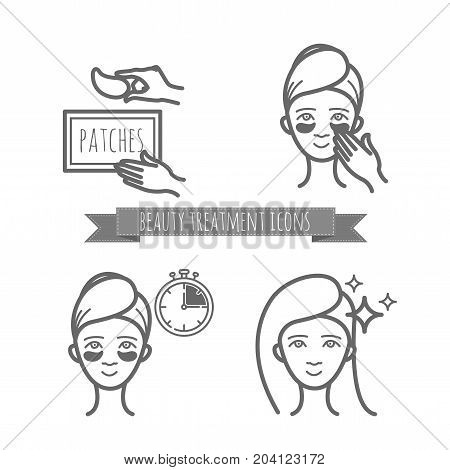 Beauty treatment icons, application of patches under the eyes. vector illustration for your design