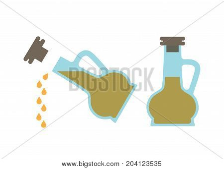 Vinegar bottle in two positions sitting still with cork on or pouring drips