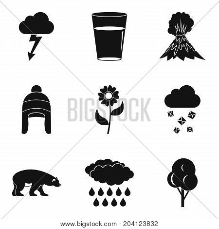 Season clouds icon set. Simple set of 9 season clouds vector icons for web design isolated on white background