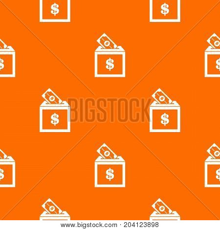 Donation box pattern repeat seamless in orange color for any design. Vector geometric illustration