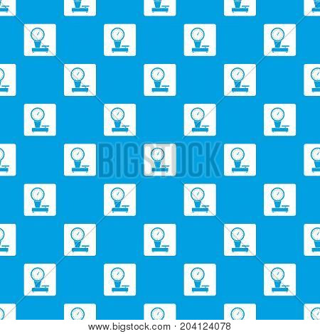 Weight scale pattern repeat seamless in blue color for any design. Vector geometric illustration