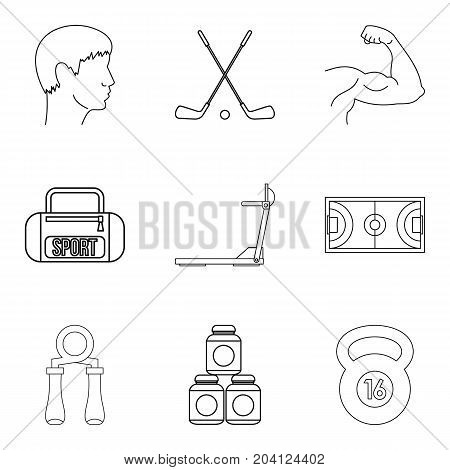 Steroid icons set. Outline set of 9 steroid vector icons for web isolated on white background