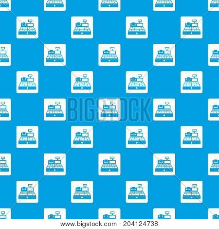 Sale cash register pattern repeat seamless in blue color for any design. Vector geometric illustration