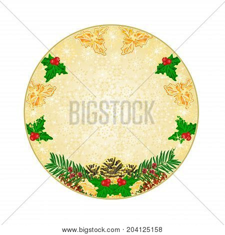 Button circle Christmas decoration snowflakes with pinecones holly and yew vintage vector illustration editable hand draw