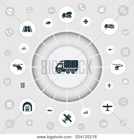 Elements Helicopter, Motor Lorry, Takeoff And Other Synonyms Jet, Mixer And Train.  Vector Illustration Set Of Simple Transport Icons.
