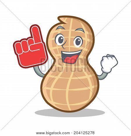 Foam finger peanut character cartoon style vector illustration