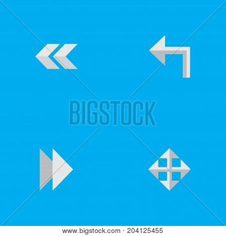 Elements Forward, Widen, Orientation And Other Synonyms Next, Rearward And Arrow.  Vector Illustration Set Of Simple Indicator Icons.