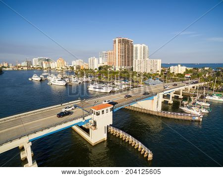 Drawbridge at Las Olas blvd in Fort Lauderdale, Florida USA. Aerial view.
