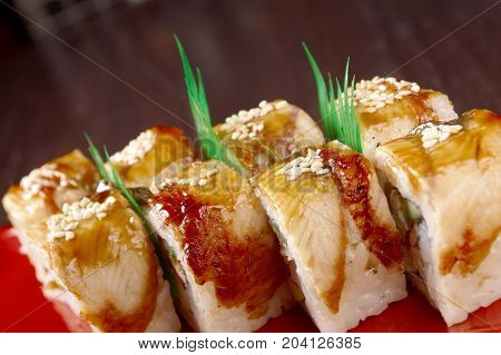 sushi with eel. traditional japanese food. Close-up cooked meal
