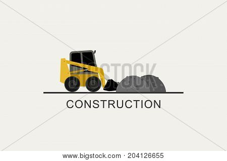 Loader removes heaps of soil. Construction machinery in flat style.