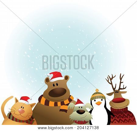 Christmas background with cartoon animals - vector illustration