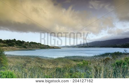 Stormy clouds over Crystal Springs Reservoir, San Mateo County, California, USA.