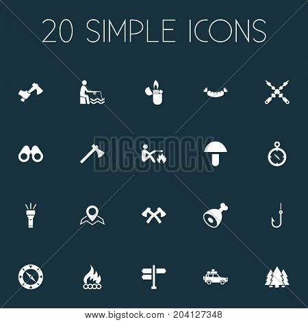 Elements Flame, Direction Pointer, Kebab And Other Synonyms Hatcher, Flame And Vacation.  Vector Illustration Set Of Simple Tourism Icons.