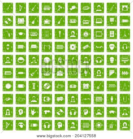 100 audience icons set in grunge style green color isolated on white background vector illustration