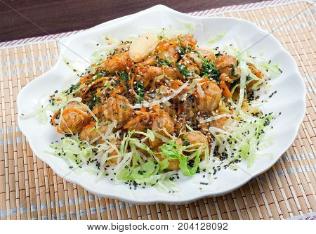 seafoods in Tempura Pastry. chinese cuisine ,close up healthy meal