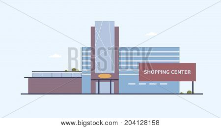 Building of shopping center with large windows and glass entrance door built in modern architectural style. Contemporary architecture, commercial property or real estate. Flat vector illustration