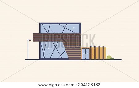 Modern building with large windows, glass door and wooden facade. House built using natural materials. Sustainable urbanism, architecture and ecological design. Vector illustration in flat style