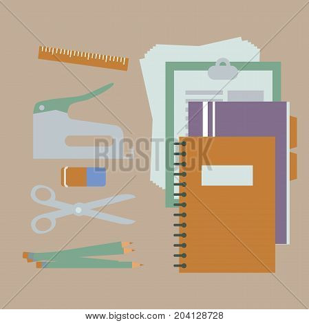 Stationery items for office or school flat style design