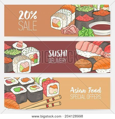 Colorful horizontal banner templates with hand drawn Japanese sushi, rolls, sashimi wasabi, chopsticks. Dining special offers and deals. Vector illustration for Asian restaurant advertisement