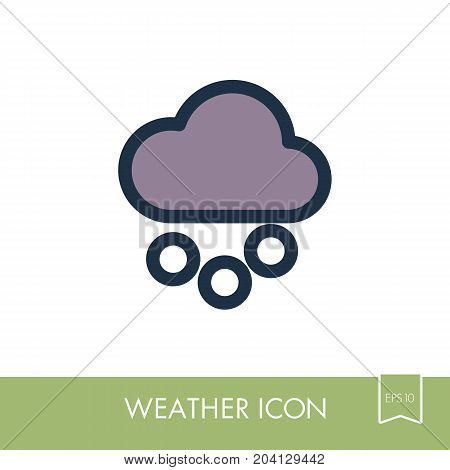 Cloud with Snow Grain outline icon. Meteorology. Weather. Vector illustration eps 10
