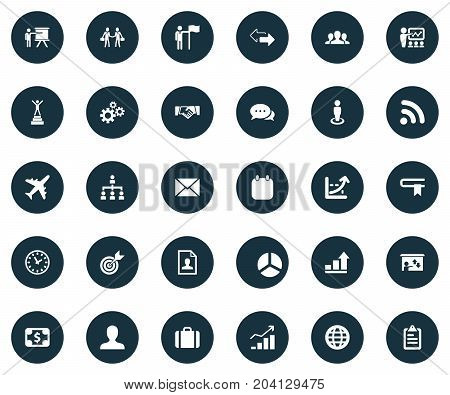 Elements Resume, Presentation, Efficient And Other Synonyms Planet, Vitae And Coach.  Vector Illustration Set Of Simple Business Icons.