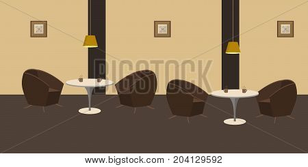 Interior of restaurant in a brown colors. There are two tables and armchairs in the image. There are also pictures in the frames on the wall and lamps here. Vector flat illustration.