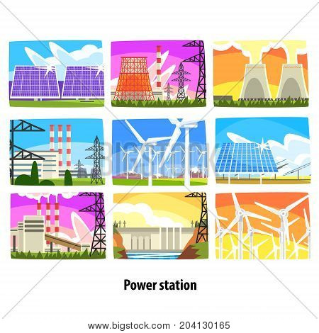 Power station set, electricity generation plants and sources colorful vector Illustrations