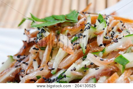 chinese cuisine .Chinese dish pig ear , close up meal
