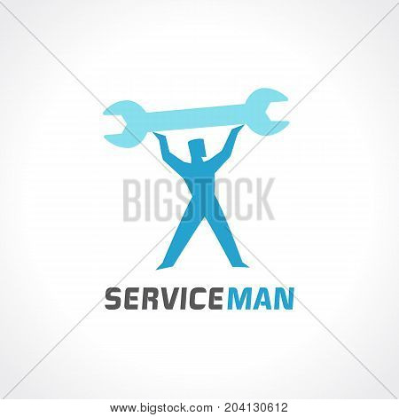 Repair man logo. Modern professional sign handy repair services with man holding holding wrench. Auto and mobile repair master design vector template