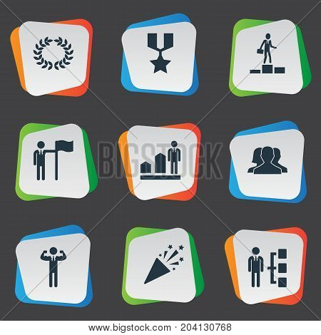 Elements Group, Sparkle, Reward And Other Synonyms Leader, Strong And Sparkle.  Vector Illustration Set Of Simple Trophy Icons.