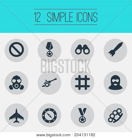 Elements Vision, Gas Mask, Missile And Other Synonyms Navigate, Dynamite And No.  Vector Illustration Set Of Simple Combat Icons.