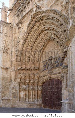 Meridional door of Catheral of Palencia Castilla y Leon Spain