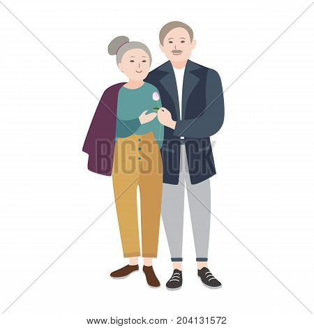 Smiling old man standing beside elderly woman, warmly embracing her and giving flower. Romantic senior couple. Beautiful flat cartoon characters isolated on white background. Vector illustration
