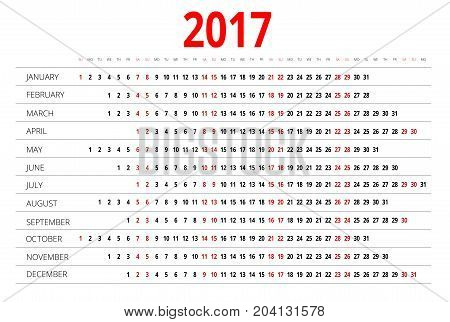 2017 calendar. Print Template. Week Starts Sunday. Portrait Orientation. Set of 12 Months. Planner for 2017 Year