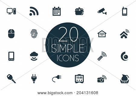 Elements Alarm, Teapot, Electric Stove And Other Synonyms Wifi, Storage And Cooker.  Vector Illustration Set Of Simple Smart Icons.