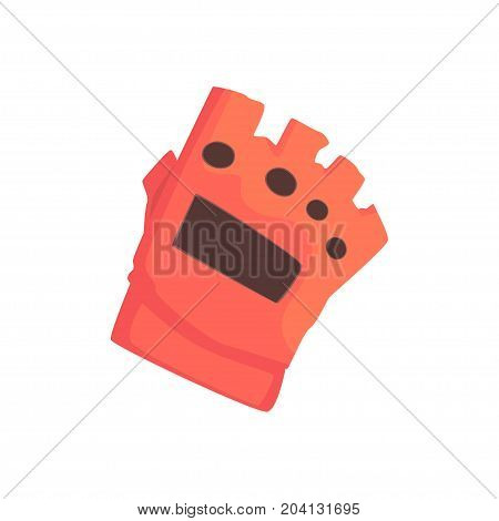 Red sportive protective glove cartoon vector Illustration on a white background