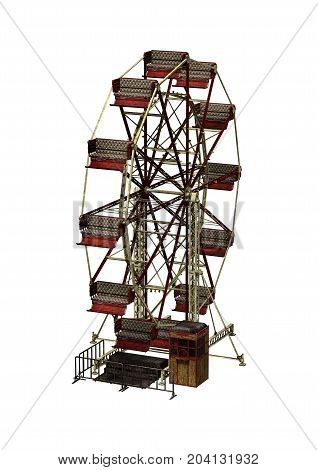 3D rendering of a carnival vintage ferris wheel isolated on white background