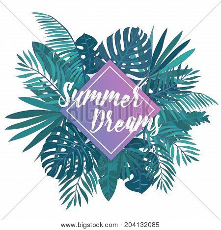 Gorgeous hand lettering Summer Dreams against purple square and green tropical palm leaves on background. Elegant inscription and lush foliage of exotic jungle tree. Colorful vector illustration