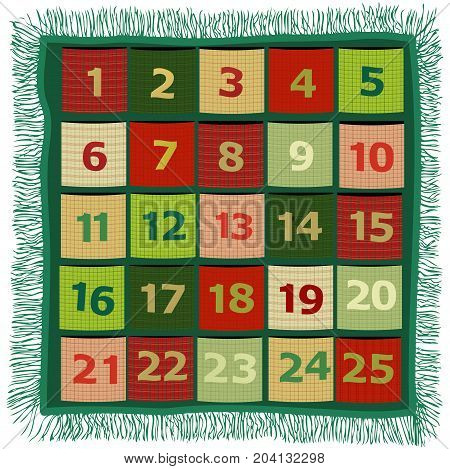 Holiday Christmas background with Advent handcraft calendar