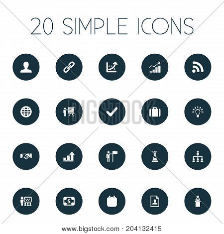 Elements Increase Graph, Demonstration, Training And Other Synonyms Seminar, Cooperation And Holding.  Vector Illustration Set Of Simple Solution Icons.