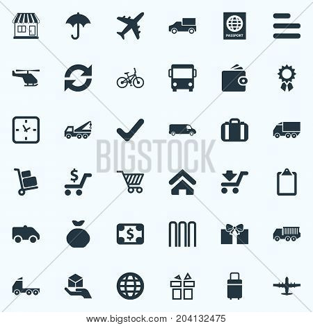 Elements Airline, Row, Hand Synonyms Car, Transport And Trolley.  Vector Illustration Set Of Simple Conveyance Icons.