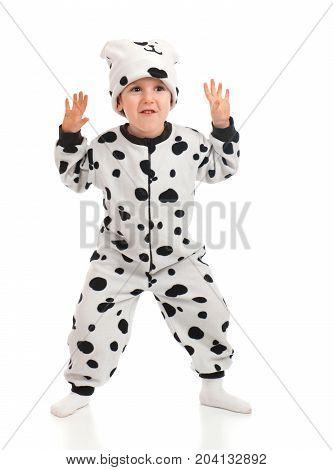 Little Boy   Dressed In A Dalmatian  Suit.