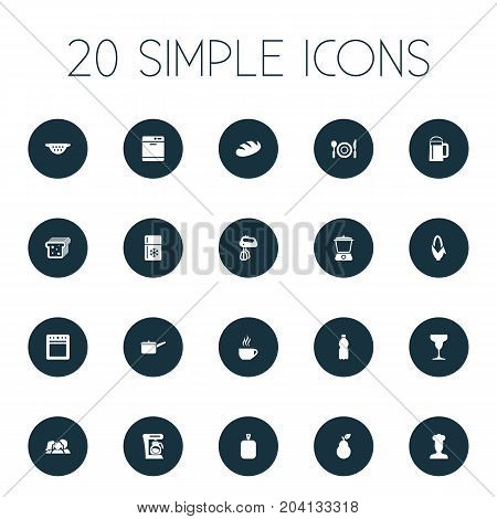 Elements Dishware Washer, Bartlett, Juicer And Other Synonyms Maker, Chef And Bakery.  Vector Illustration Set Of Simple Cuisine Icons.