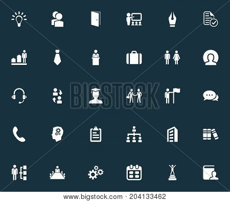 Elements Presentation, Cogwheel, Species And Other Synonyms Almanac, Coach And Suit.  Vector Illustration Set Of Simple Human Icons.