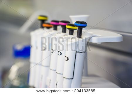 Laboratory work with professional pipetts. Cell splitting work