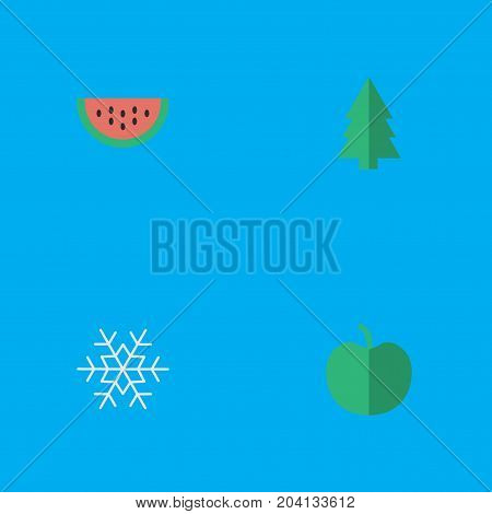 Elements Tree, Fruit, Melon And Other Synonyms Berry, Flake And Snow.  Vector Illustration Set Of Simple Horticulture Icons.