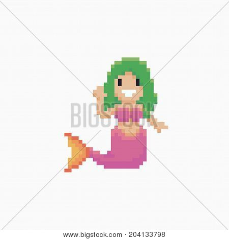 Pixel art happy mermaid greeting with a hand wave