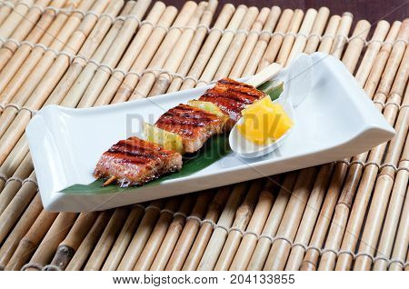 Japanese skewered seafoods .eel close up healthy eating
